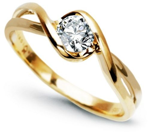 Staviori pierścionek. 1 diament, szlif brylantowy, masa 0,20 ct., barwa h, czystość si1. żółte złoto 0,585.