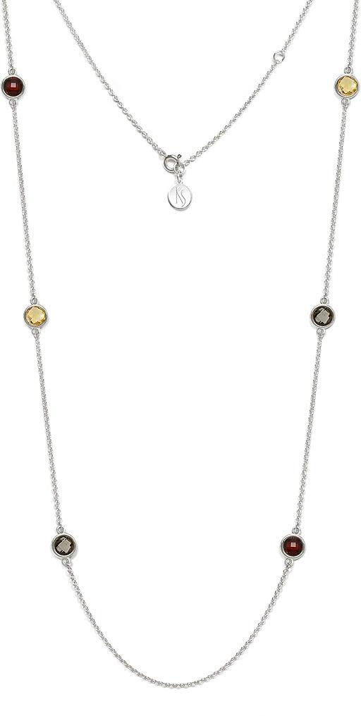 Kuźnia Srebra - Naszyjnik srebrny, 81cm, Granat, Kwarc Dymny, Cytryn, 12g, model
