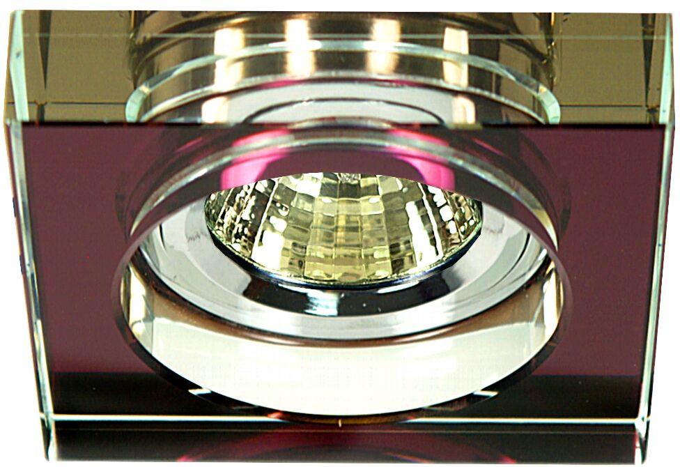 Candellux SS-16 CH/PU 2244344 oprawa do wbudowania chrom MR16 oczko sufitowe kwadratowa szkło fioletowe min 6,4cm