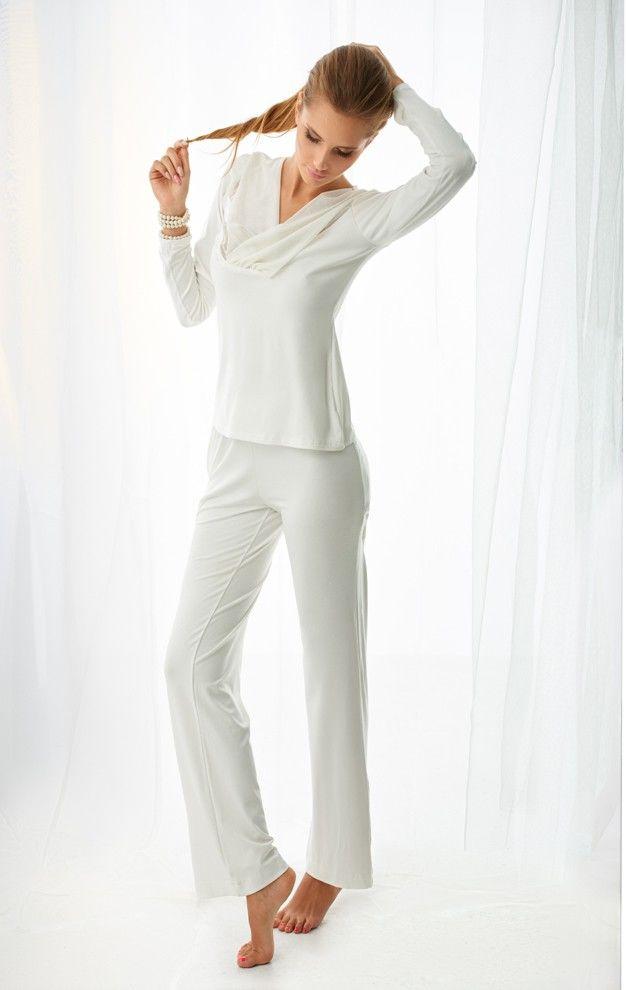 Komplet piżama - koszulka, długie spodnie (wiskoza) Florence - ecru