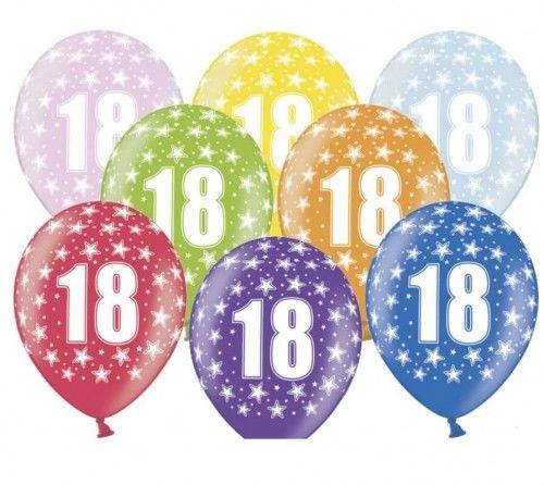Balony na 18 urodziny 18th! birthday, metaliczne 6 szt.
