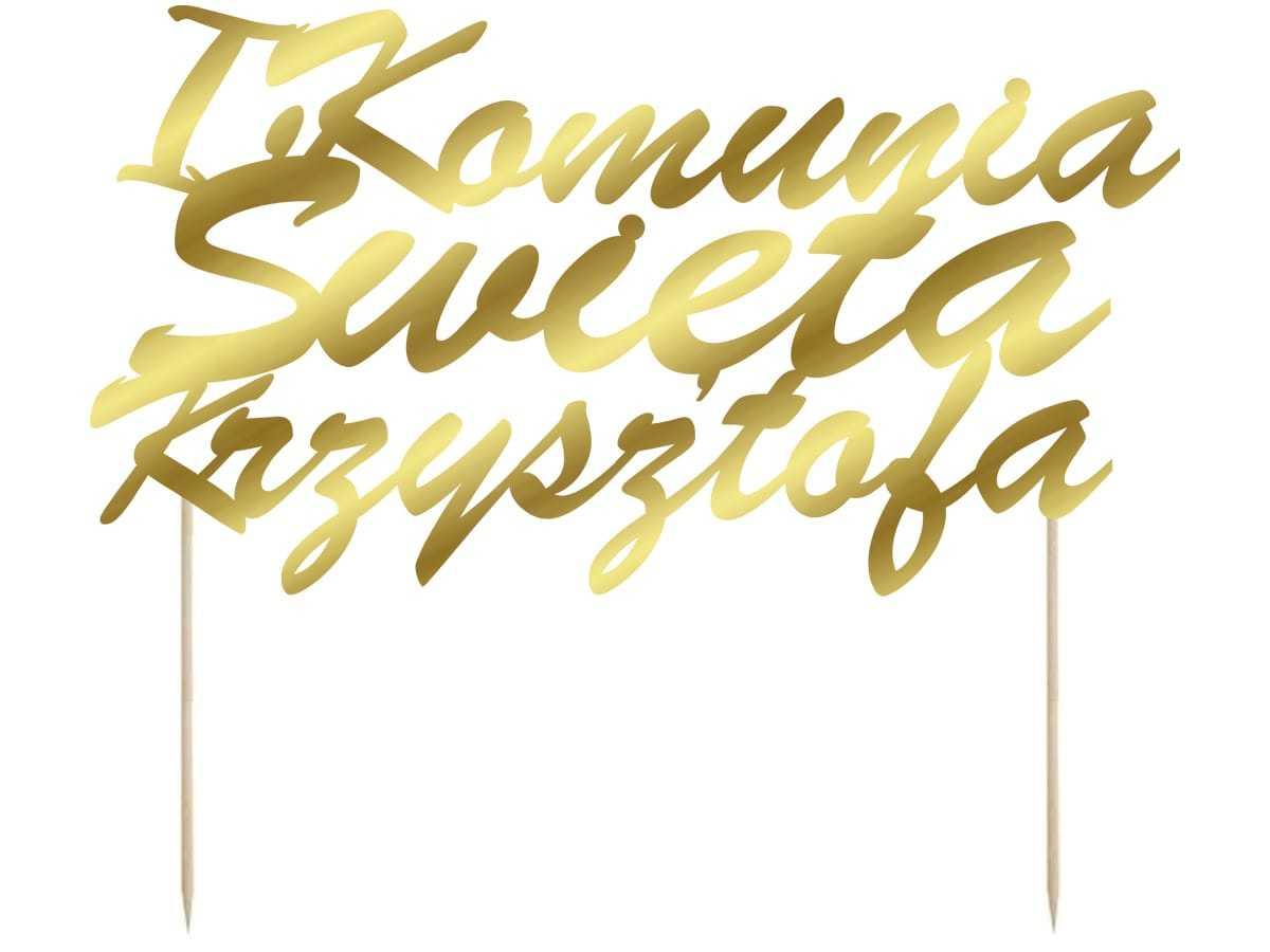 Topper na tort personalizowany I Komunia Święta - 1 szt.