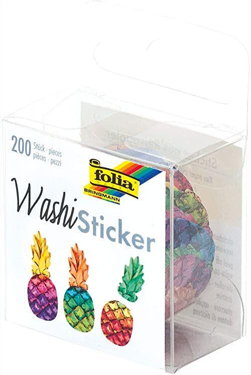 folia 26505  naklejki Washi, ananasy, wstępnie wytłoczone formy z papieru ryżowego, 200 sztuk na rolce  idealne do ozdabiania i dekorowania