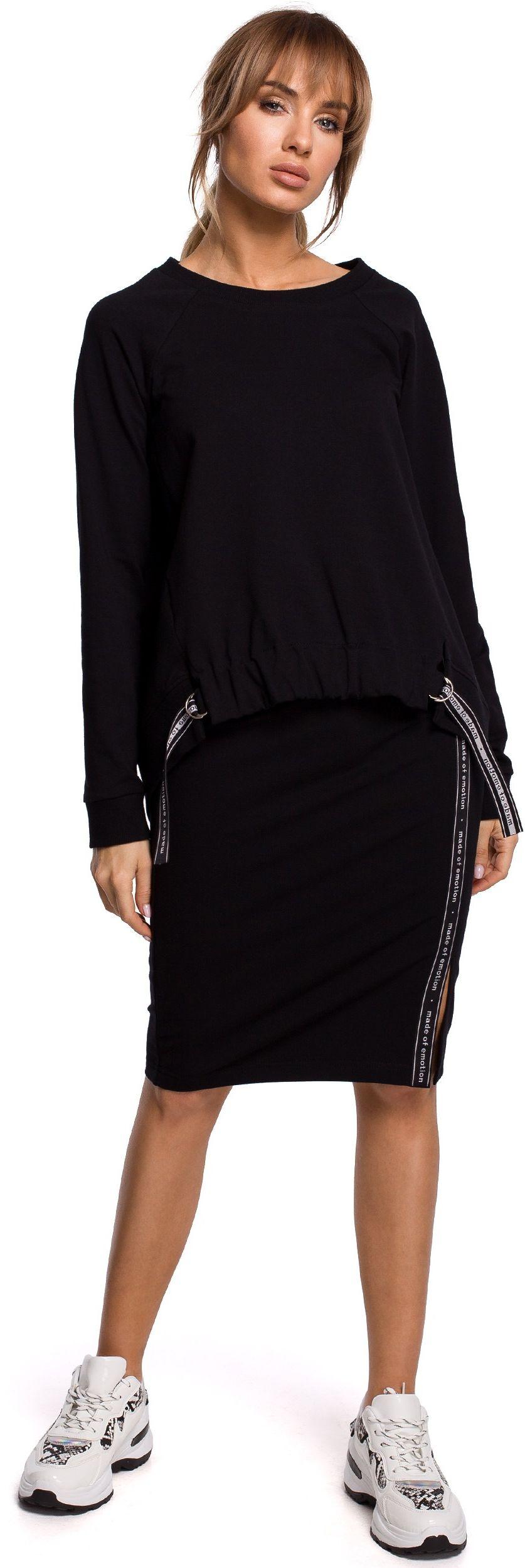 Ołówkowa spódnica dzianinowa z lampasem - czarna