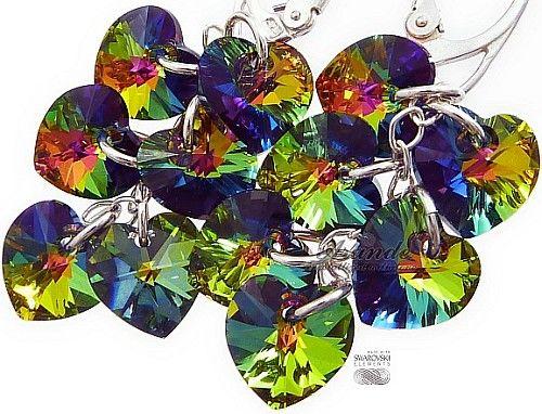 Kryształy CRYSTALS długie kolczyki SREBRO Serce