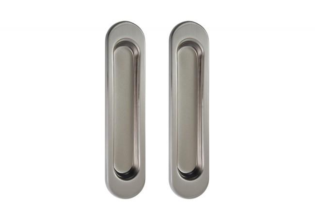 Uchwyt do drzwi przesuwnych wpuszczany owalny B-HARKO R003SN 151x35 mm, nikiel satyna(2 sztuki)
