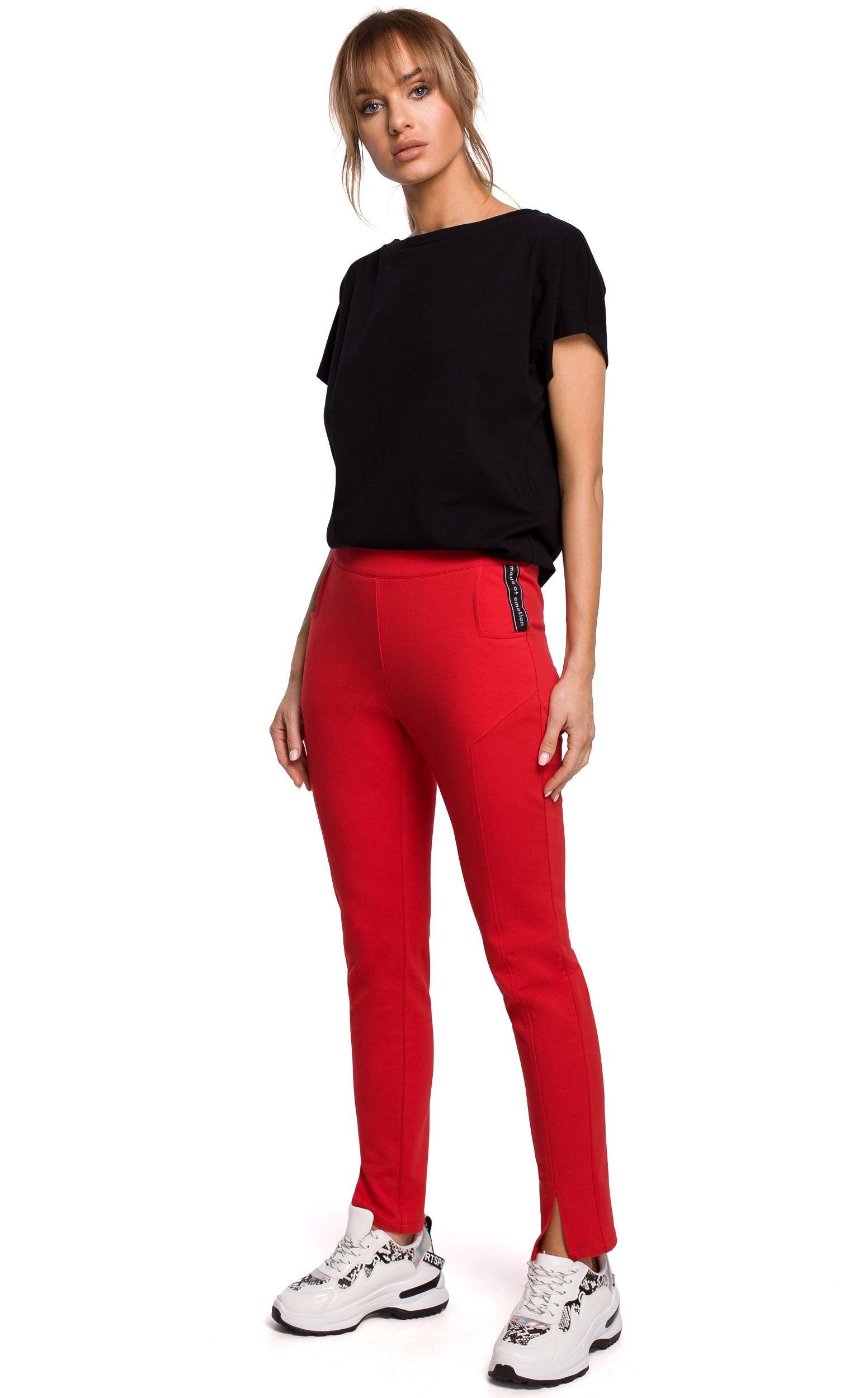 Dresowe spodnie z rozciętą nogawką - czerwone