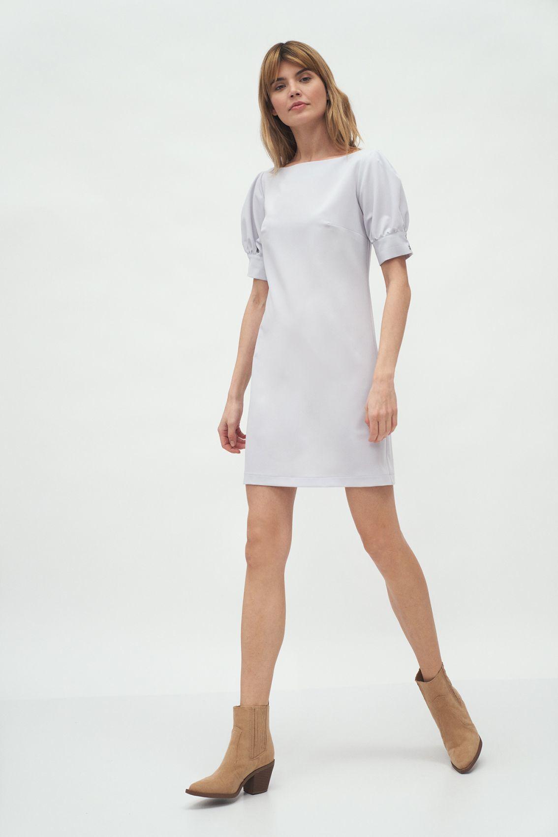 Szara sukienka z bufiastymi rękawami - S166