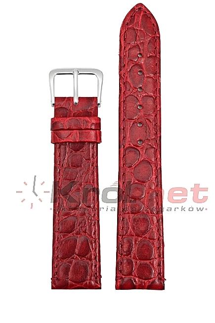 Pasek 209/04/1/14 - czerwony, imitacja krokodyla