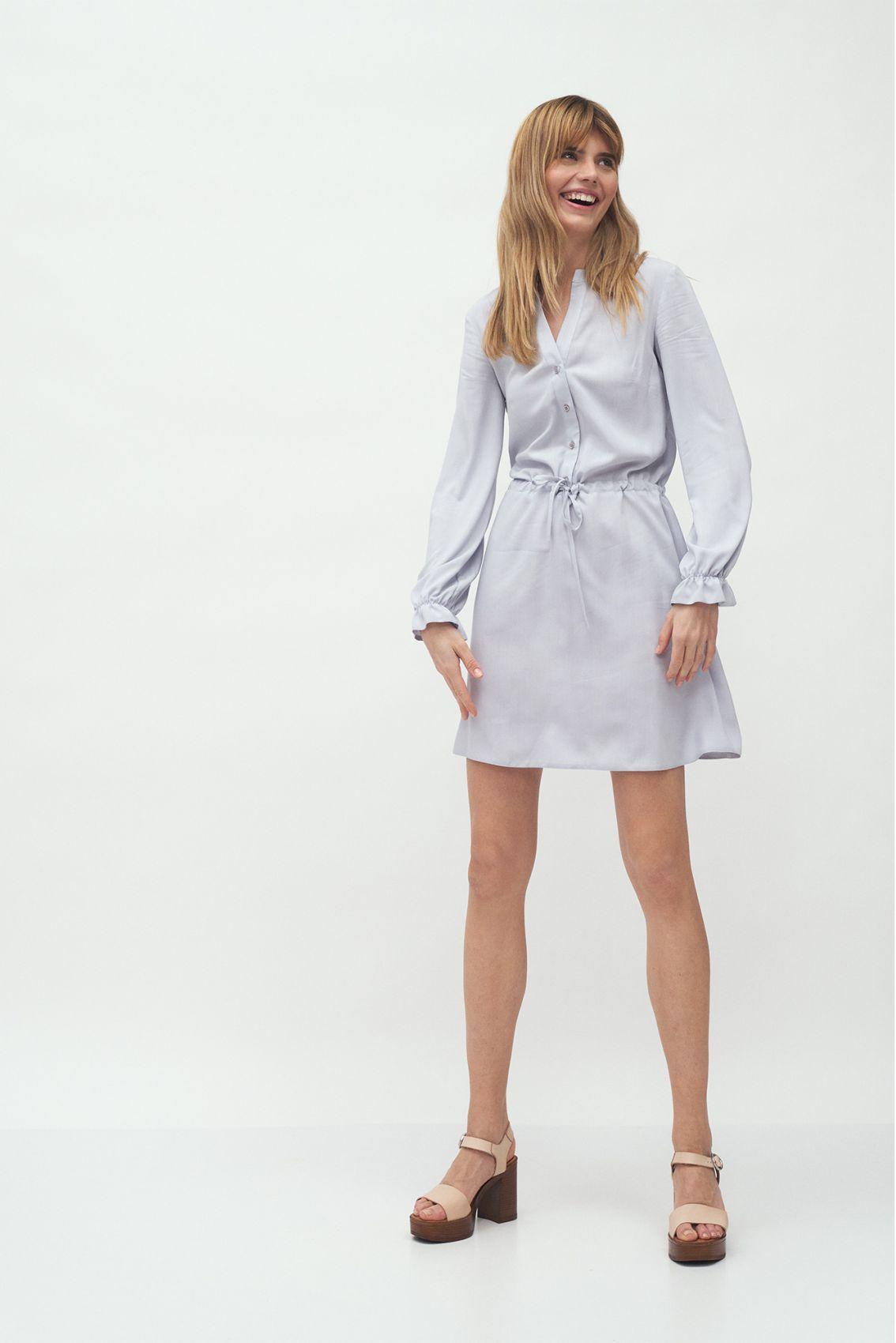 Szara wiskozowa sukienka wiązana w talii - S171