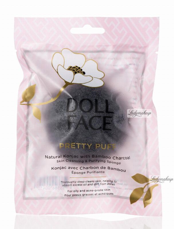 DOLL FACE - PRETTY PUFF - Natural Konjac with Bamboo Charcoal - Gąbka oczyszczająca do mycia twarzy