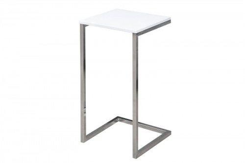 Invicta stolik Simply biały - podstawa chromowana