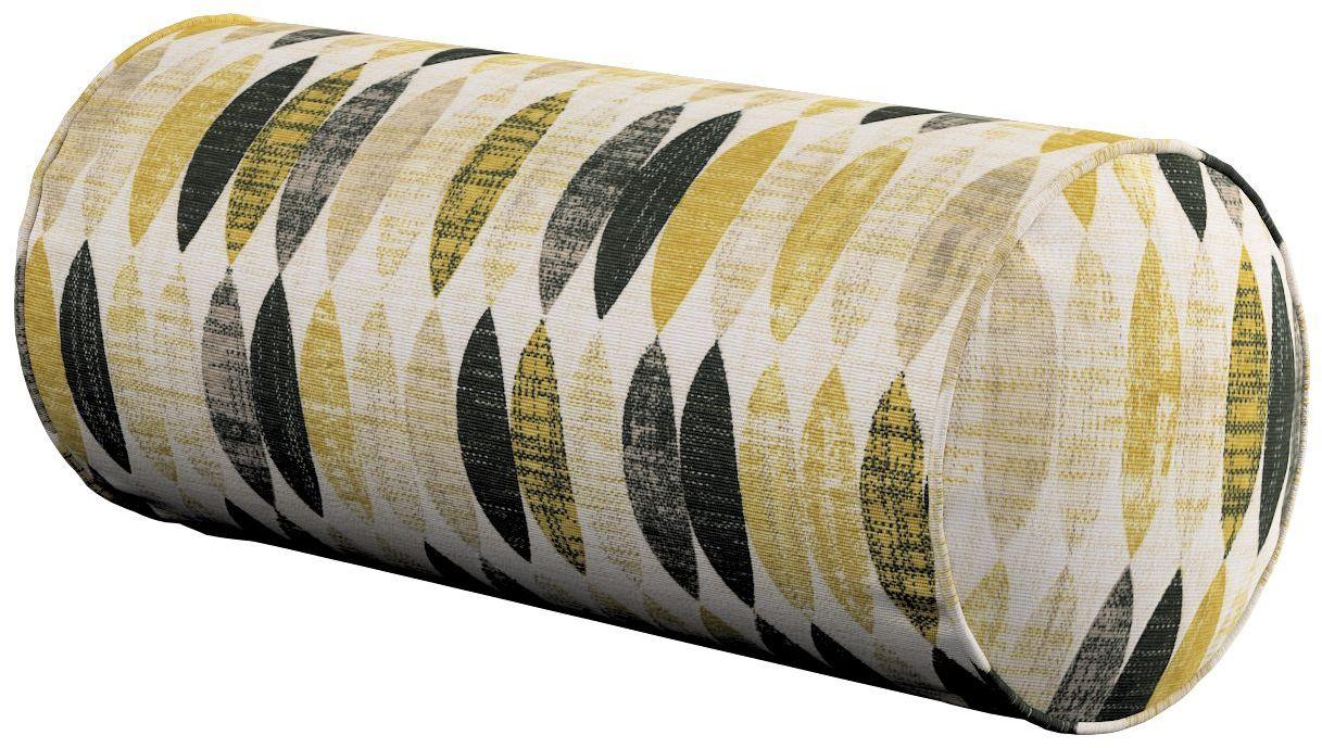 Poduszka wałek prosty, musztardowo- czarno- beżowe wzory na jasnym tle, Ø16  40 cm, Modern