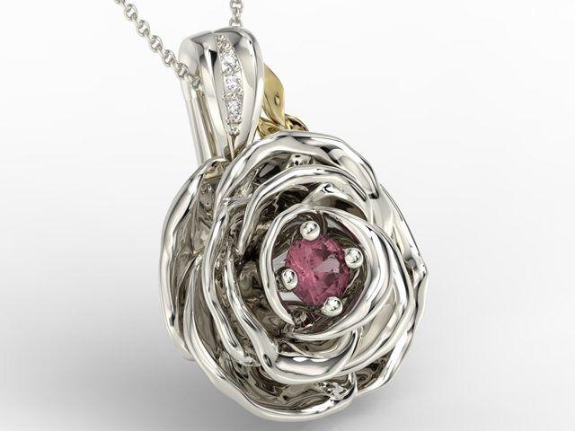 Wisiorek z białego i żółtego złota w kształcie róży z rubinem i diamentami apw-95bz