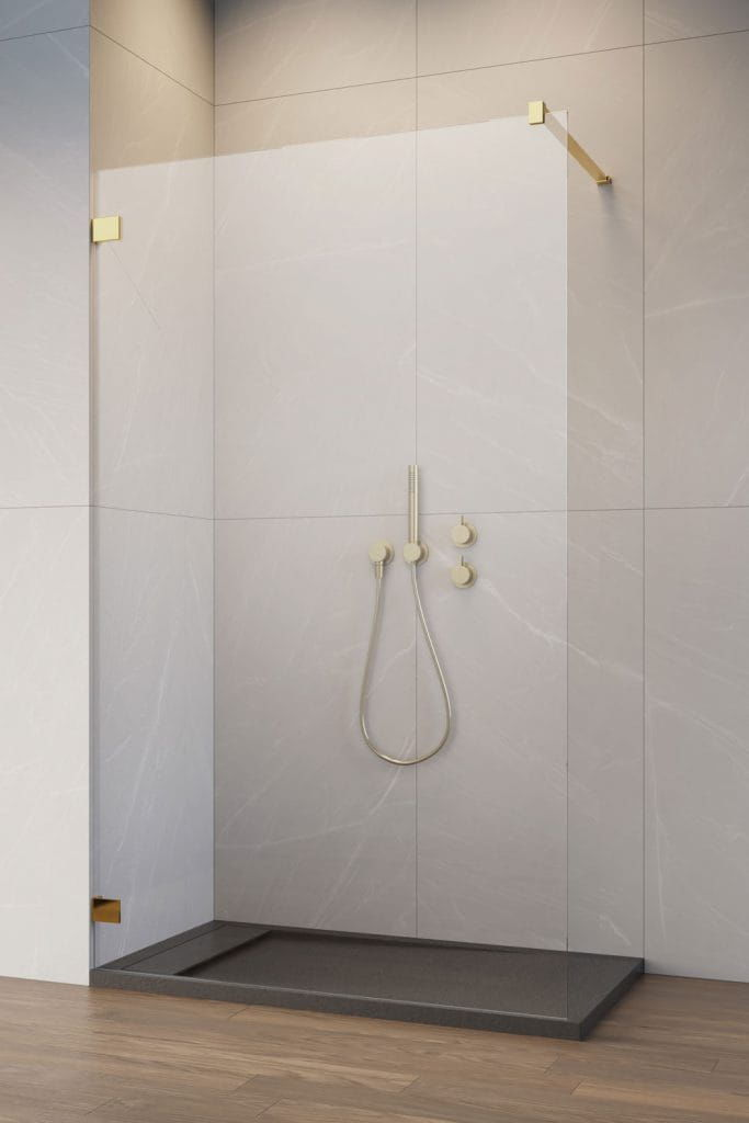 Radaway kabina ESSENZA PRO GOLD 8 Walk-In 50 cm, wys. 200 cm szkło przejrzyste 8 mm 1012050-09-01