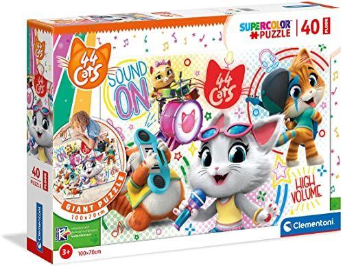 Clementoni 25466, 44 koty superkolorowe puzzle podłogowe dla dzieci - 40 sztuk, wiek 3 lata plus