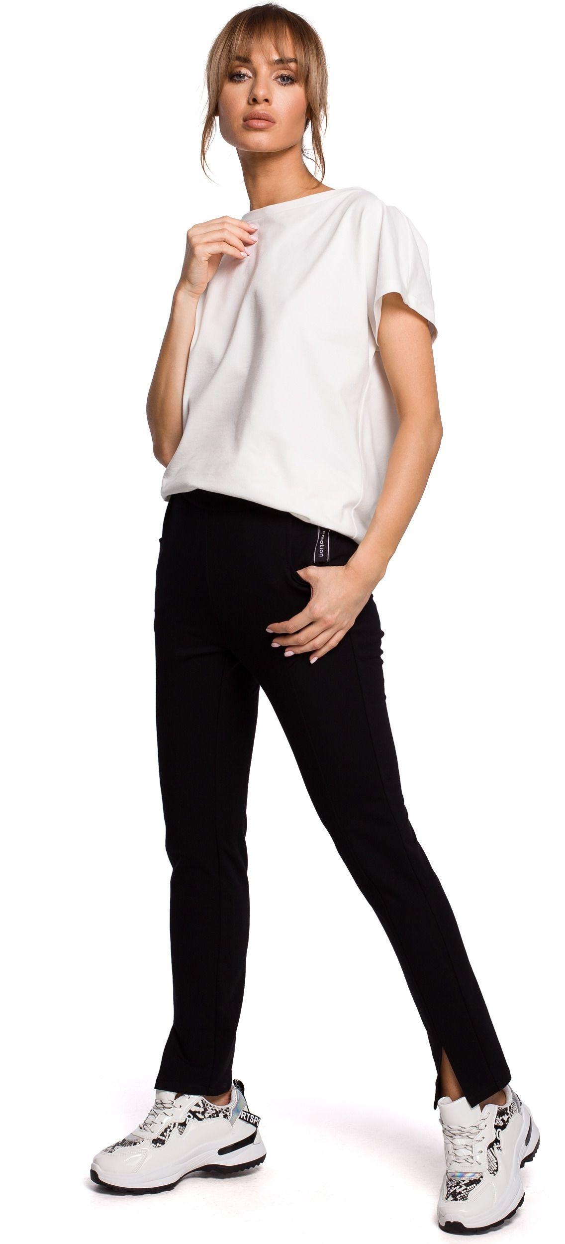 Dresowe spodnie z rozciętą nogawką - czarne
