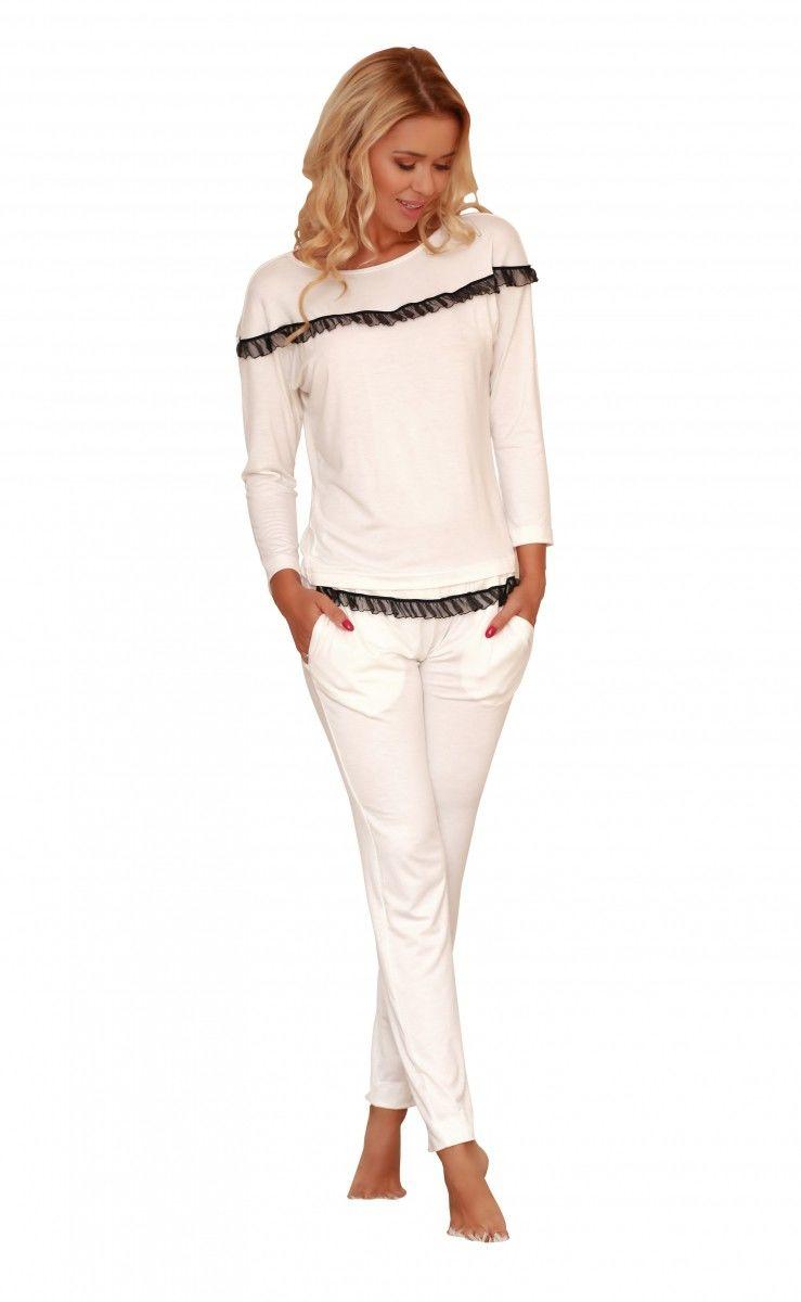 Komplet piżama - koszulka, długie spodnie (wiskoza) Calpe - ecru