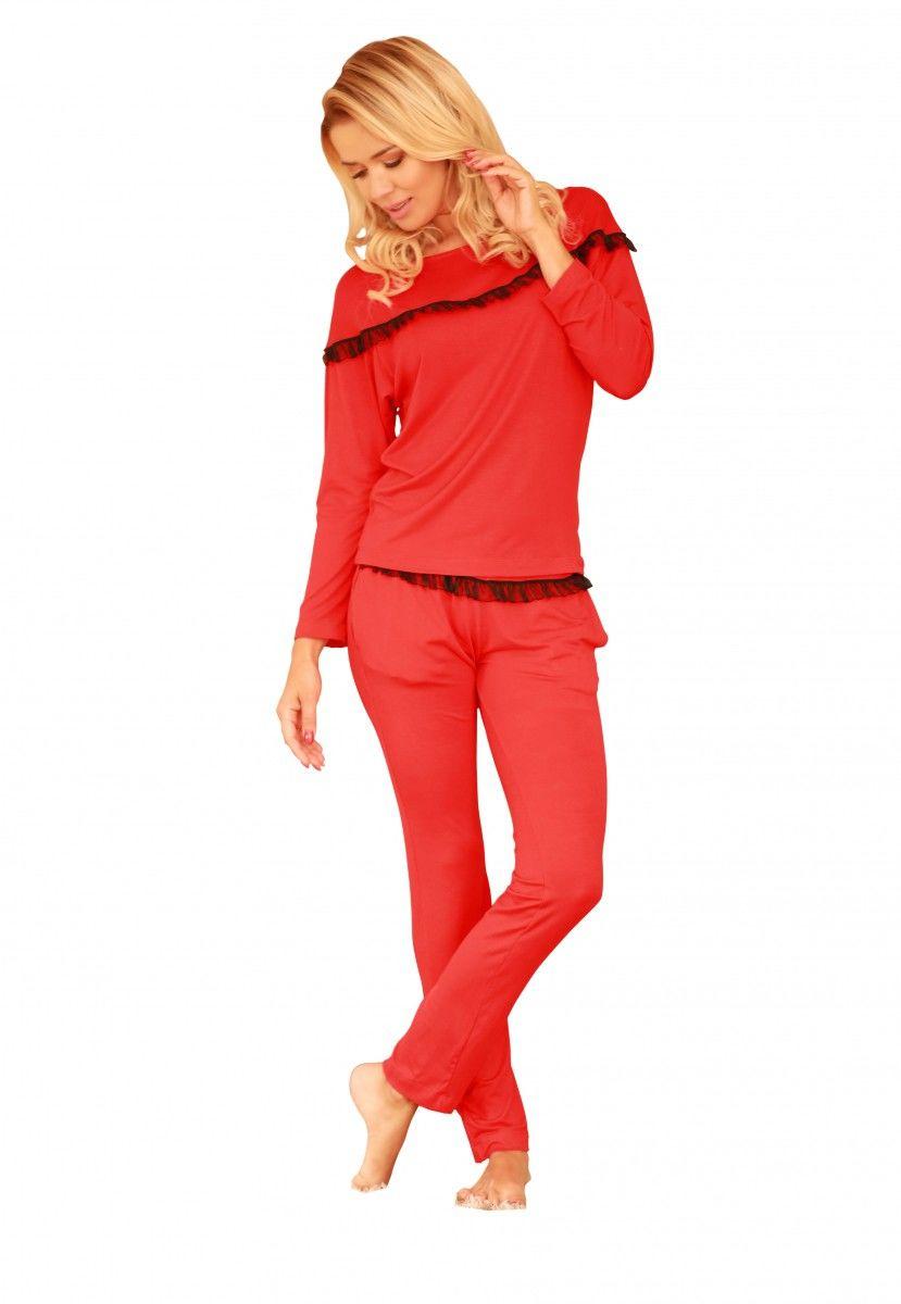Komplet piżama - koszulka, długie spodnie (wiskoza) Calpe - czerwony