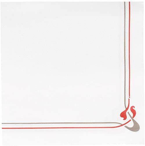Garcia de Pou Maxim bordowe i szare serwetki dwupunktowe 18 g/m2 w pudełku, 40 x 40 cm, papier, białe, 30 x 30 x 30 cm