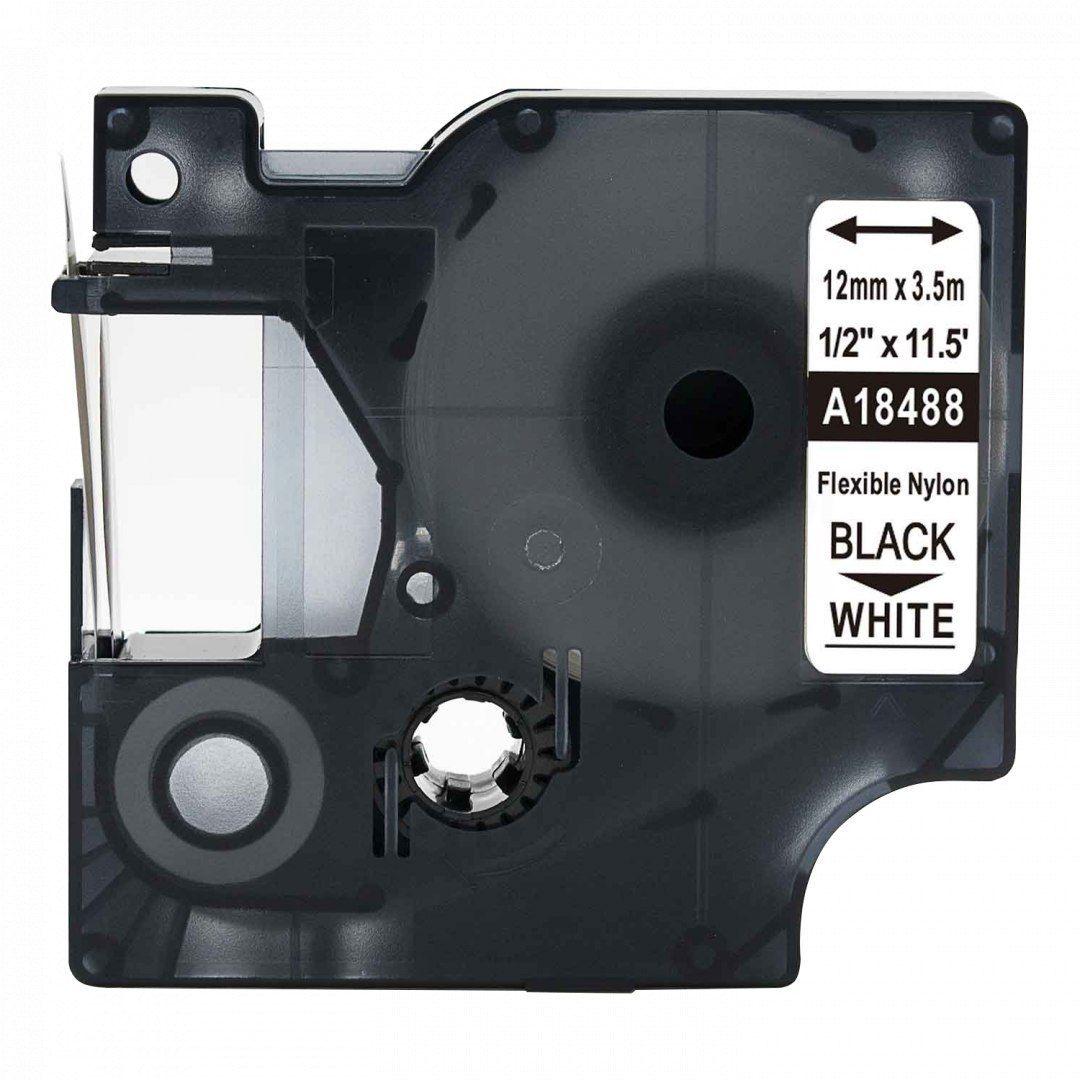 Taśma DYMO Rhino 18488 nylonowa 12mm x 3.5m biała czarny nadruk S0718100 - zamiennik OSZCZĘDZAJ DO 80% - ZADZWOŃ! 730811399