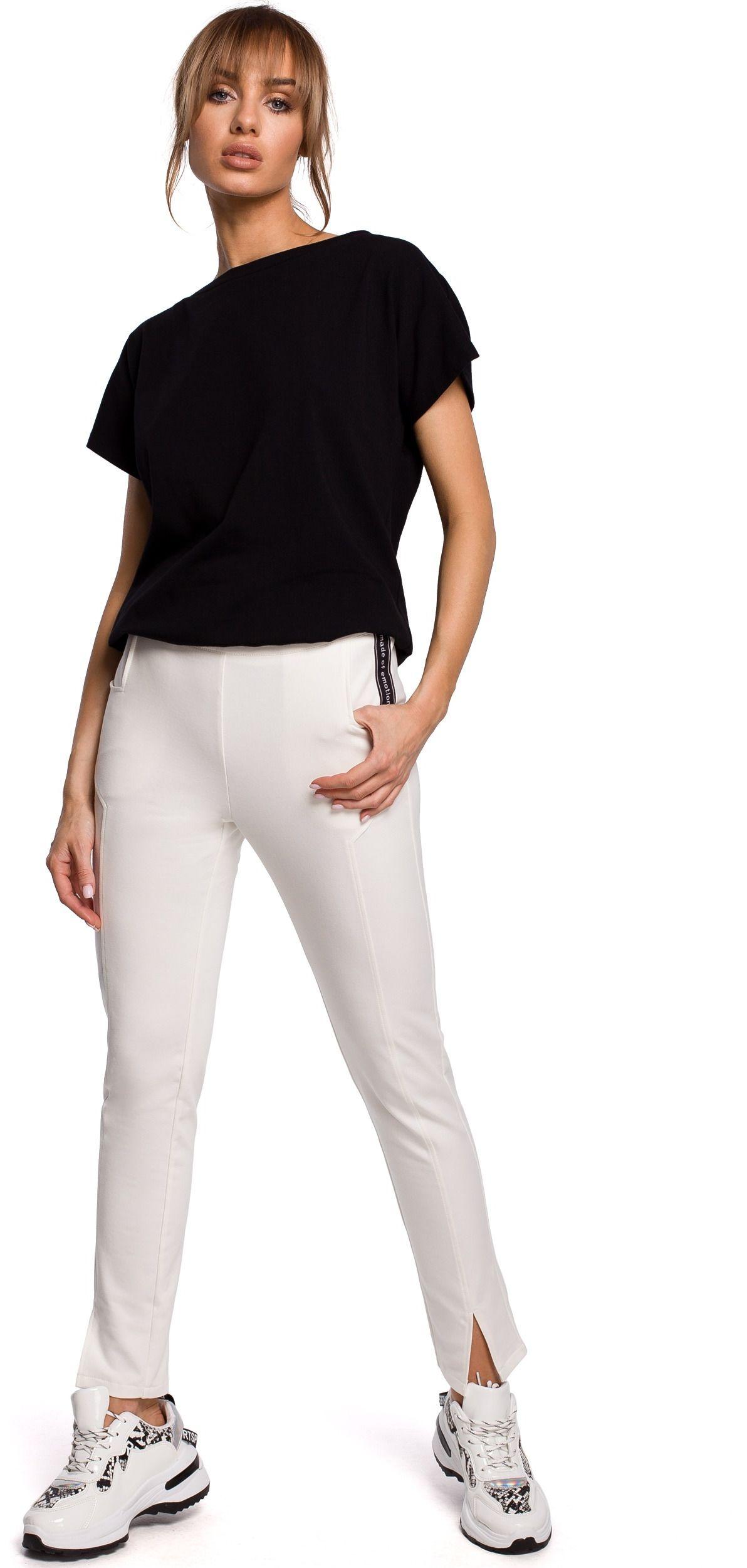 Dresowe spodnie z rozciętą nogawką - ecru