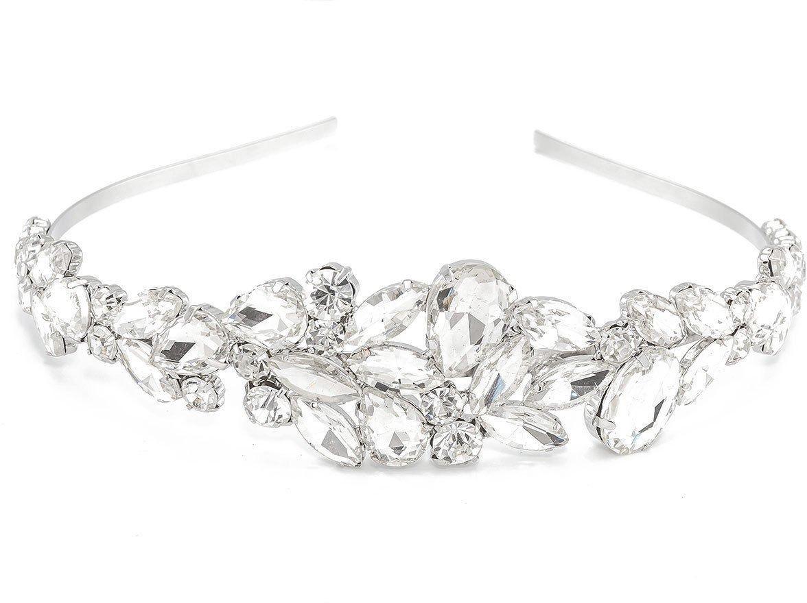 Ozdoba do włosów ślubna opaska diadem srebrna