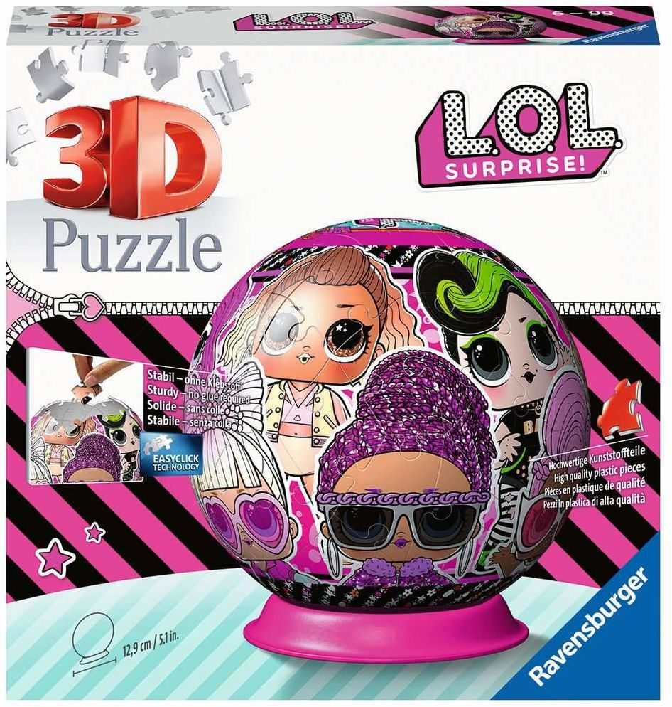 Ravensburger Puzzle 3D 11162 Ravensburger Lol Surprise 72 Elementy Puzzle 3D Kula (11162) Dla Dzieci I Dorosłych. Technologia Easy Click - Każdy Element Pasuje Idealnie