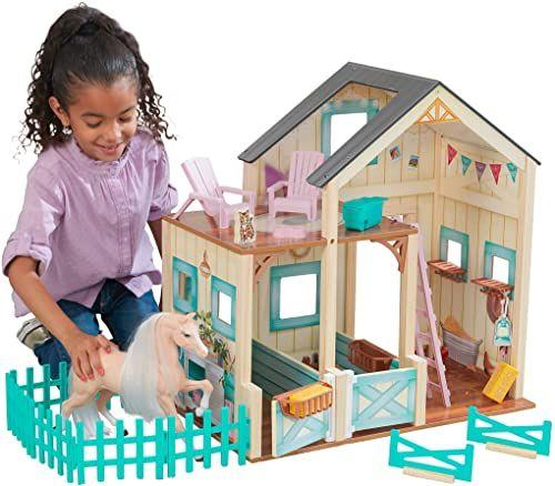 Kidkraft 63534 Słodka łąka koń stabilny z meblami i koniem w zestawie 2-piętrowy zestaw do zabawy dla lalek i koni zabawkowych