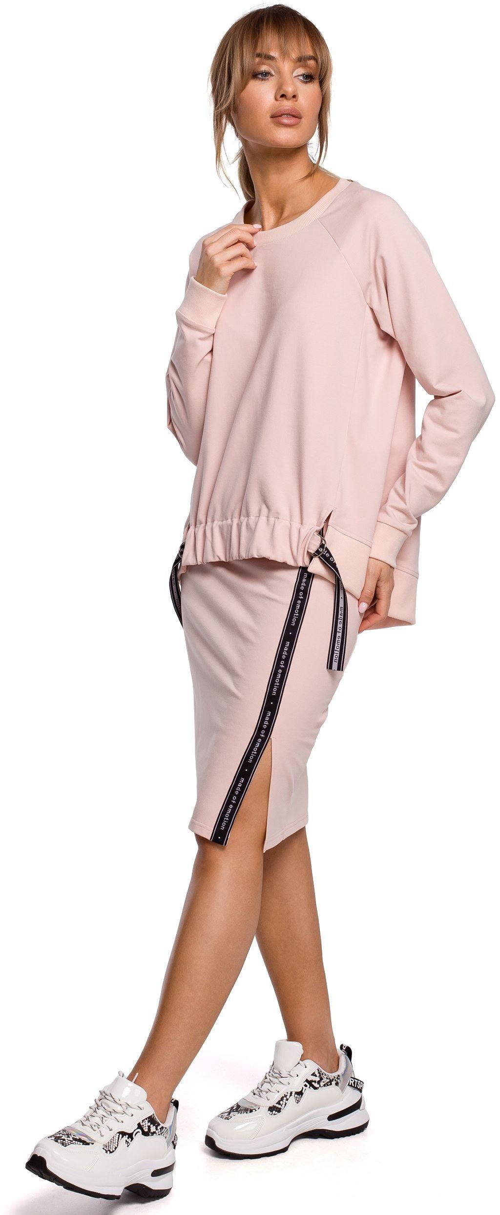 Ołówkowa spódnica dzianinowa z lampasem - różowa