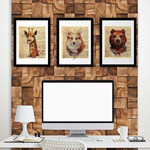 Walplus Naklejki ścienne gazeta zwierzęta plakat zestaw nr 1 żyrafa lis niedźwiedź sztuka murale kalkomanie salon żłobek szkoła restauracja hotel kawiarnia biuro dekoracja domu, wielokolorowe