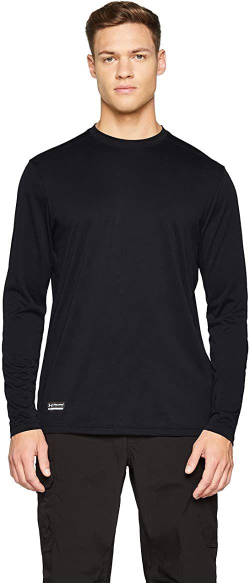 Under Armour męski T-shirt sportowy wykonany z technologią antyzapachową, odzież na siłownię z wygodnym dopasowaniem UA TAC Tech koszulka z długim rękawem Black/None XL