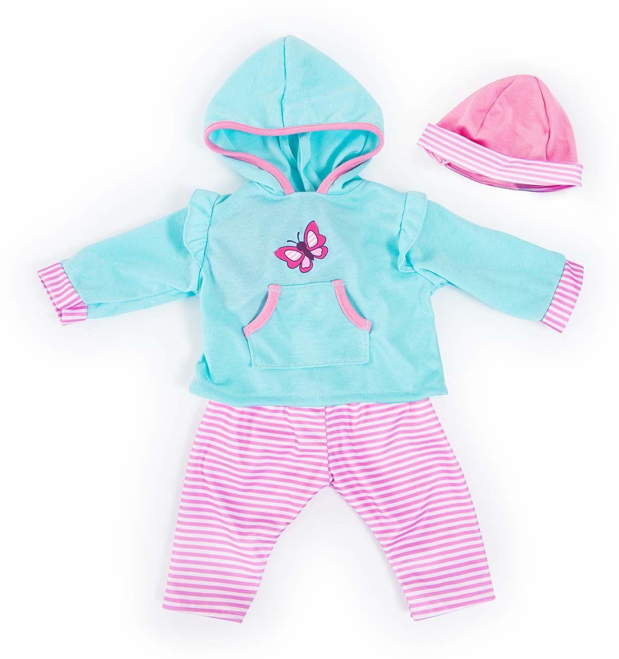 Bayer Design 83875AA odzież dla lalek, spodni, topu i czapki, zestaw, strój z motylkiem