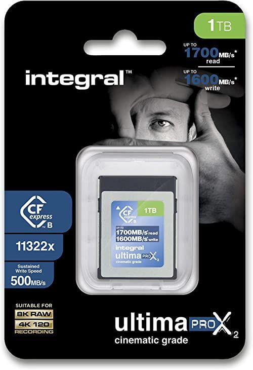 Integral Karta pamięci CFExpress 1 TB typ B 2.0 1700 MB/s odczyt 1600 MB/s prędkość zapisu zaprojektowana dla profesjonalnego fotografa i fotografa filmowego