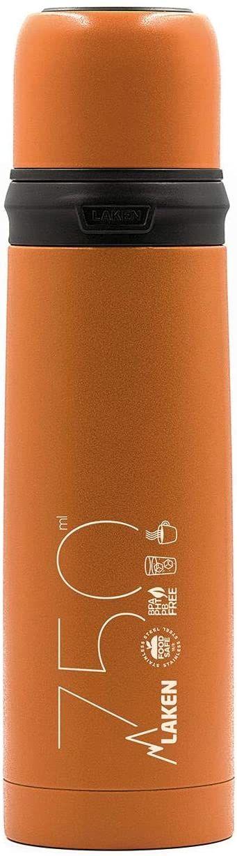 Laken pomarańczowy termos ze stali nierdzewnej z kubkiem 0,75 l, unisex, dorośli, 750 ml