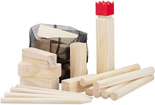 Relaxdays Wikingowie gra rzucana z drewna sosnowego, naturalna gra wikingów, czerwony król, duży, zabawka ogrodowa z torbą