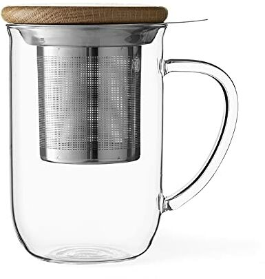 Viva Scandinavia Kubek do herbaty ze szkła borokrzemowego, z podwójną ścianką, z drewnianą pokrywką, filiżanka z wyjmowanym sitkiem do herbaty, herbata luzem, herbata liściasta, 0,5 l