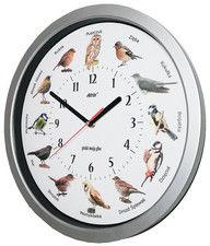 Zegar z głosami ptaków srebrny duży 35cm