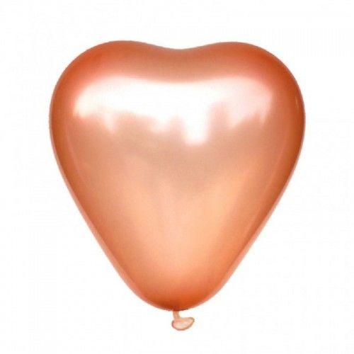 Balony Serce różowe złoto, 10 szt.