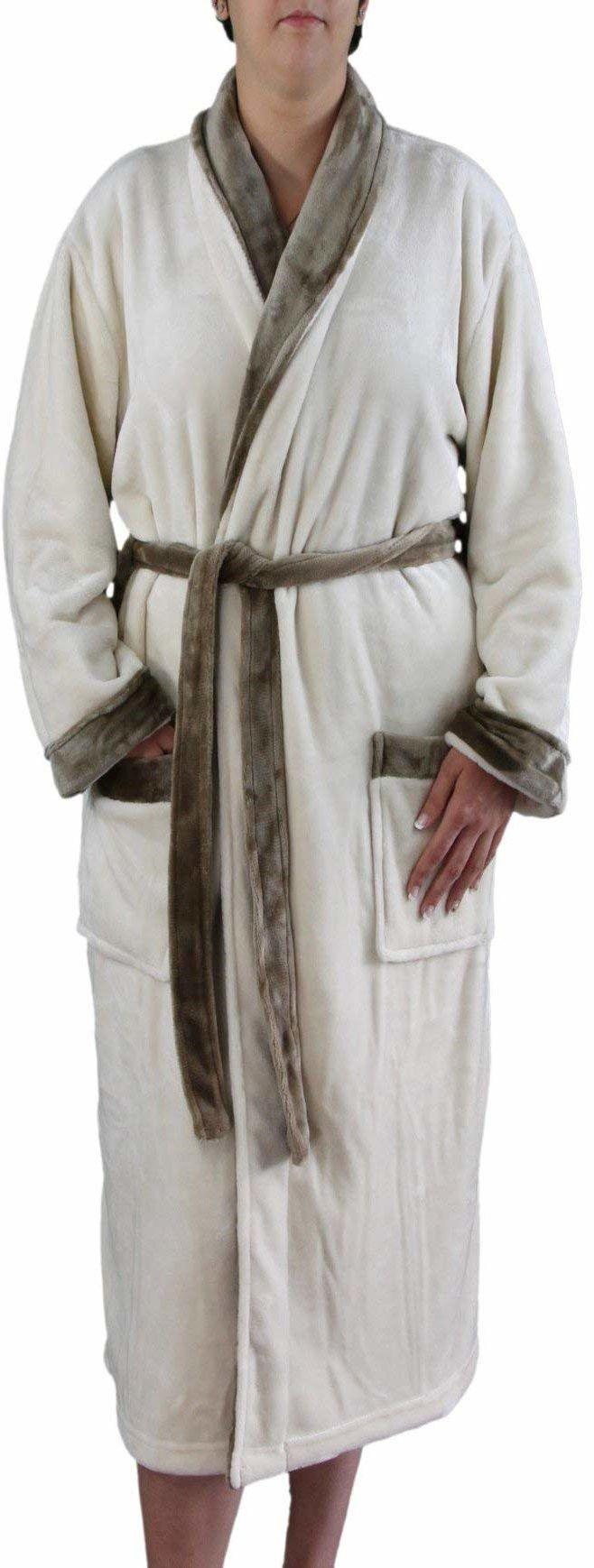 Gözze Damski i męski szlafrok kąpielowy z kołnierzem szalikowym, imitacja jedwabiu, rozmiar XL, biały wełniany, 20014-00-4