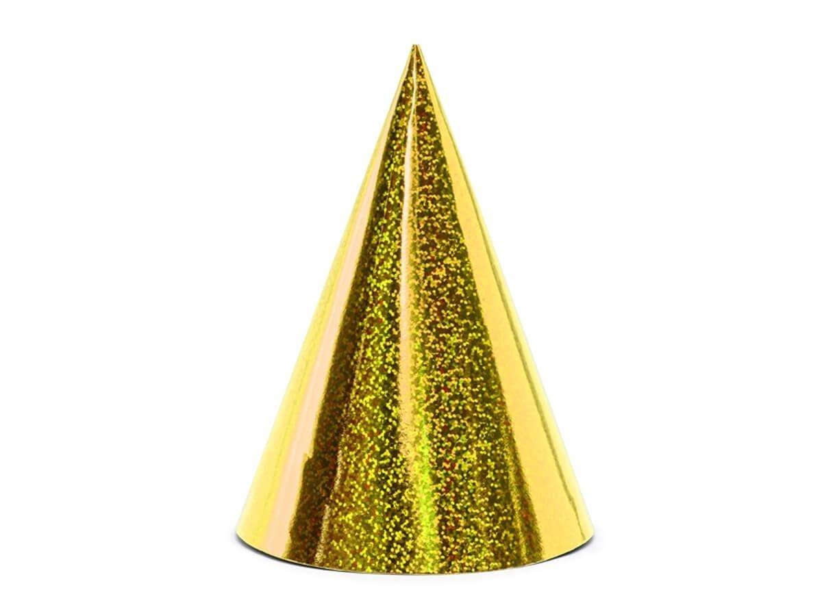 Czapeczki holograficzne żółte - 6 szt.
