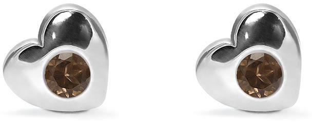 Kuźnia Srebra - Kolczyki srebrne sztyft, 8mm, Kwarc Dymny, 2g, model