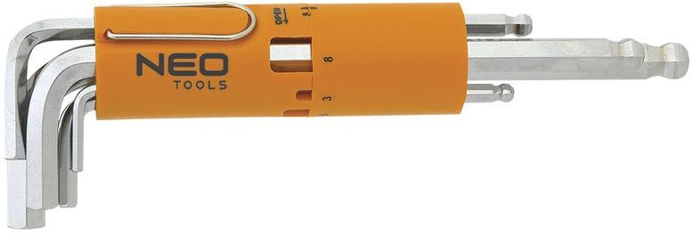 Klucze sześciokątne długie kuliste 2.5-10 mm 09-523 /zestaw 8 szt./