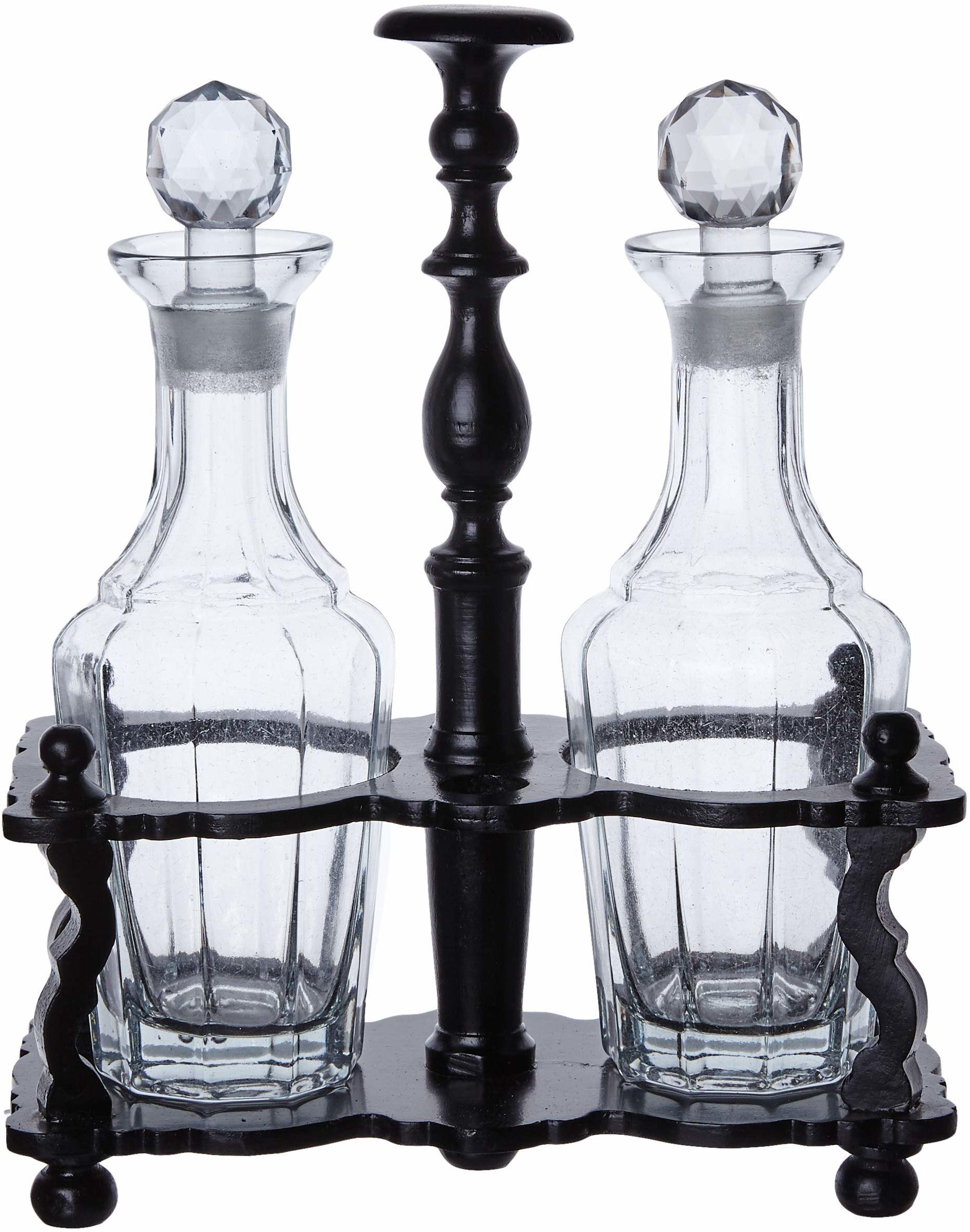 Better & Best 1228084  butelka na olej i 2 flakony, z drewnianym stojakiem, czarny