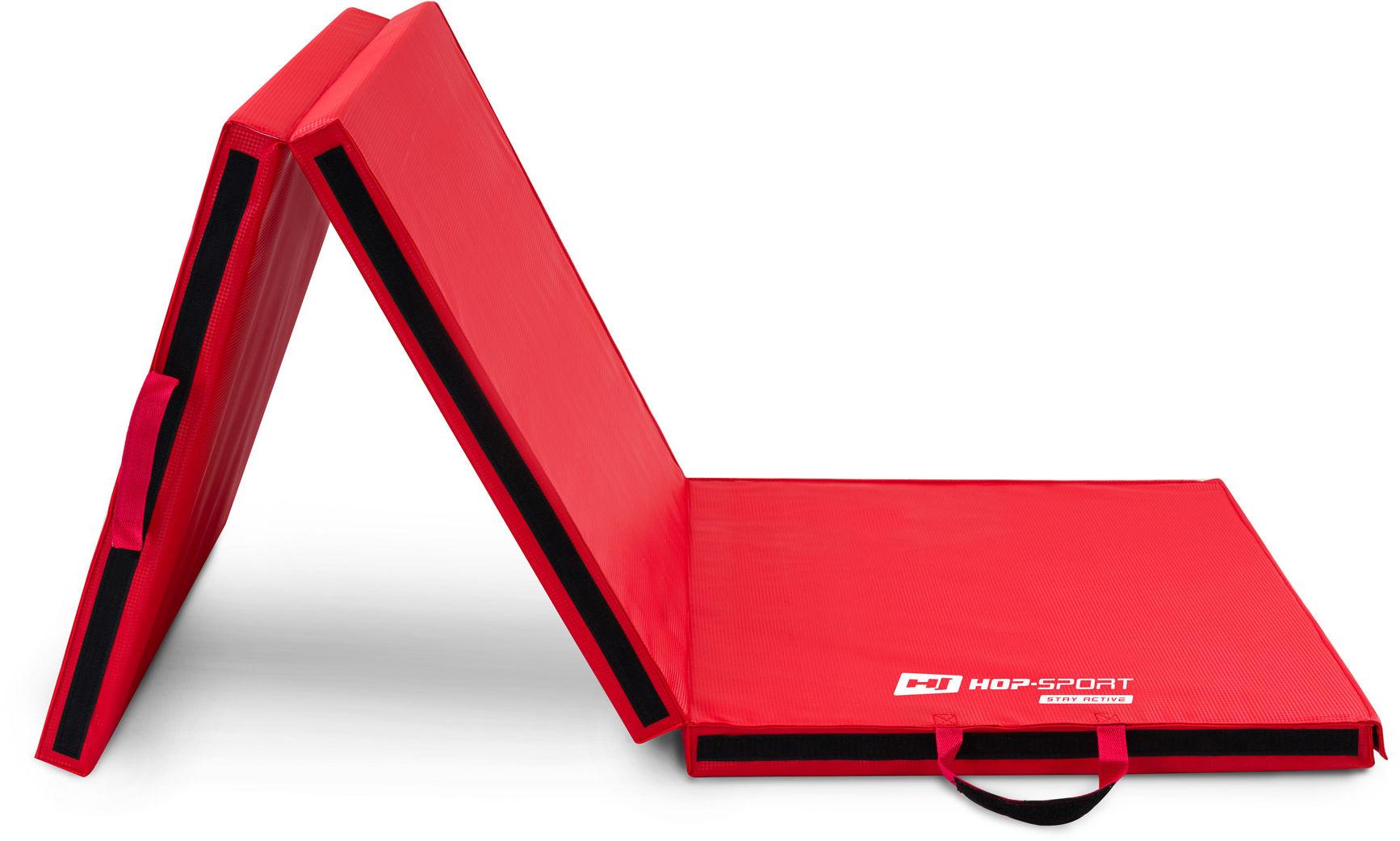 Materac gimnastyczny składany twardy z rzepami 5cm - czerwony
