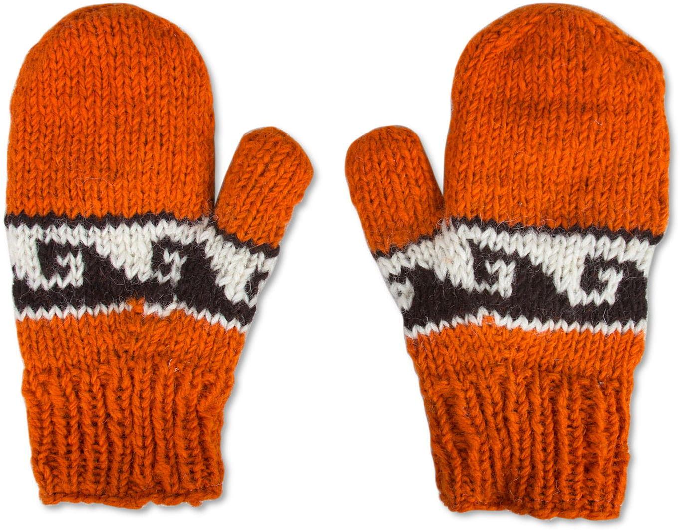 Rękawiczki wełniane z jednym palcem pomarańcz