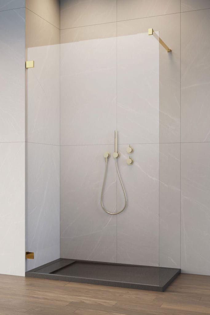 Radaway kabina ESSENZA PRO GOLD 8 Walk-In 160 cm, wys. 200 cm szkło przejrzyste 8 mm 1012160-09-01