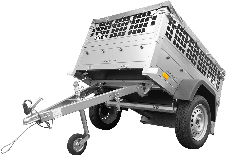 Przyczepa jednoosiowa mała Unitrailer GARDEN TRAILER 150 KIPP z kołem podporowym, burtami siatkowymi i pokrowcem płaskim szarym