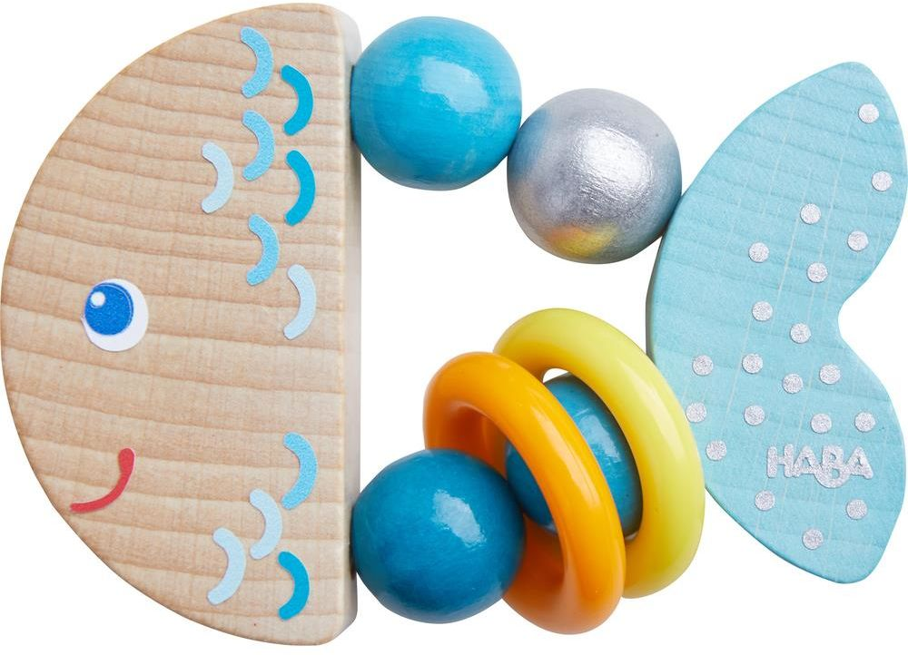 Drewniana grzechotka Rybka Nela HB305582-Haba, zabawki dla niemowląt