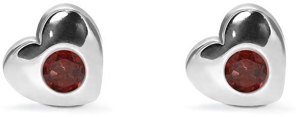 Kuźnia Srebra - Kolczyki srebrne sztyft, 8mm, Granat, 2g, model